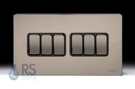 Schneider Screwless Flat Plate Black Nickel Light Switch 6G 2W GU1462BBN