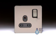 Schneider Screwless Flat Plate Black Nickel Single Switched Socket 13A GU3410BBN