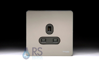 Schneider Screwless Flat Plate Black Nickel Single Unswitched Socket 13A GU3450BBN
