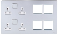 Schneider Screwless Flat Plate Combination Media Plate Polished Chrome GU34204DMPWPC