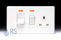 Schneider Screwless Flat Plate Cooker Switch & Socket Gloss White GU4401WWH