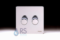 Schneider Screwless Flat Plate LED Dimmer Switch 2G Polished Chrome GU6422LPC