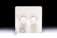 Schneider Screwless Flat Plate Dimmer Switch 2G White Metal GU6422CPW