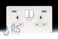 Schneider Screwless Flat Plate Double USB Socket White Metal GGBGU34202USBWPW