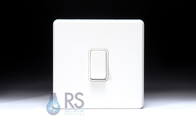 Schneider Screwless Flat Plate Light Switch Gloss White GU1412WWH
