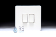 Schneider Screwless Flat Plate Light Switch Gloss White GU1422WWH