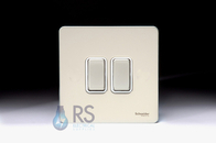 Schneider Screwless Flat Plate Light Switch Pearl Nickel GU1422WPN