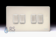 Schneider Screwless Flat Plate Light Switch 4g Pearl Nickel GU1442WPN