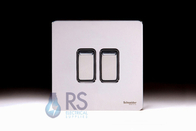 Schneider Screwless Flat Plate Light Switch Polished Chrome GU1422BPC