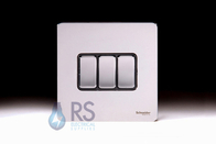 Schneider Screwless Flat Plate Light Switch Polished Chrome GU1432BPC