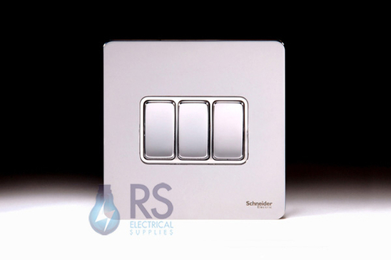 Schneider Screwless Flat Plate Light Switch Polished Chrome GU1432WPC
