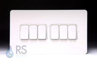 Schneider Screwless Flat Plate Light Switch White Metal GU1462WPW