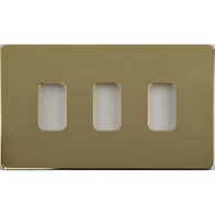 Schneider Screwless Flat Plate Polished Brass Grid Plate 3 Gang GUGS03GPB