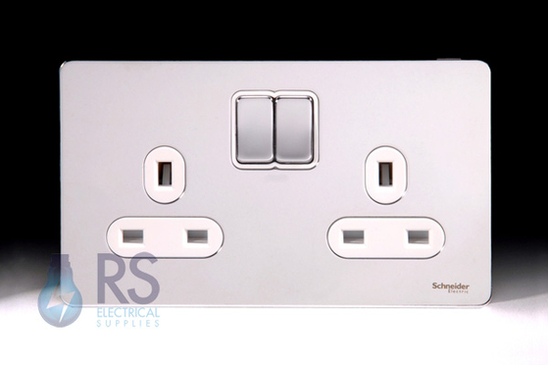 Schneider Screwless Flat Plate Double Socket Polished Chrome GU3420WPC