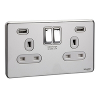 Schneider Screwless Flat Plate Polished Chrome Double/Twin Socket White Inserts With Usb GGBGU34202USBWPC