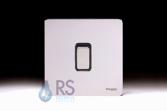 Schneider Screwless Flat Plate Retractive Switch White Metal GU1412RBPC