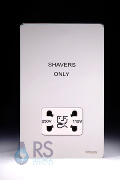 Schneider Screwless Flat Plate Shaver Socket Polished Chrome GU7490WPC