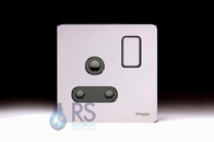 Schneider Screwless Flat Plate Single 15A Socket Polished Chrome GU3490BPC