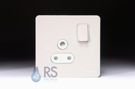 Schneider Screwless Flat Plate Single 15A Socket White Metal GU3490WPW