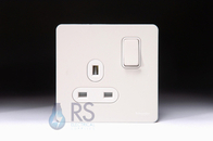 Schneider Screwless Flat Plate Single Socket DP White Metal GU3410DWPW