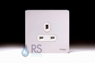 Schneider Screwless Flat Plate Single Socket Polished Chrome GU3450WPC