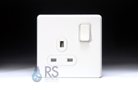 Schneider Screwless Flat Plate Single Socket Gloss White GU3410DWWH