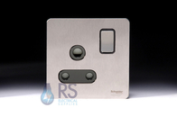 Schneider Screwless Flat Plate Stainless Steel 15A Switched Socket Black Inserts GU3490BSS