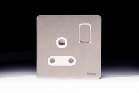 Schneider Screwless Flat Plate Stainless Steel 15A Switched Socket White Inserts GU3490WSS