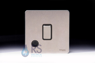 Schneider Screwless Flat Plate Stainless Steel 20A DP Switch & Flex Outlet Black Inserts GU2413BSS