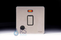 Schneider Screwless Flat Plate Stainless Steel 20A DP Switch Neon with Flex Outlet Black Inserts GU2414BSS