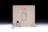 Schneider Screwless Flat Plate Stainless Steel 20A DP Switch Neon with Flex Outlet White Inserts GU2414WSS