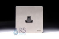 Schneider Screwless Flat Plate Stainless Steel 2A Unswitched Socket Black Inserts GU3470BSS