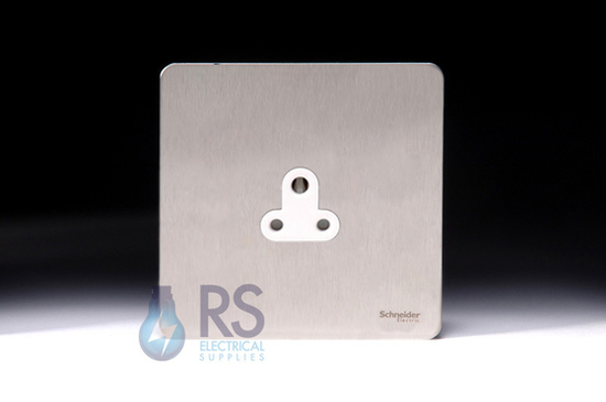 Schneider Screwless Flat Plate Stainless Steel 2A Unswitched Socket White Inserts GU3470WSS