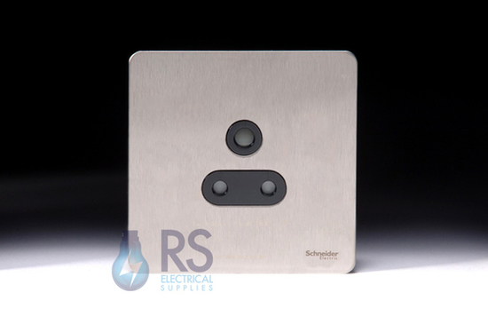 Schneider Screwless Flat Plate Stainless Steel 5A Unswitched Socket Black Inserts GU3480BSS