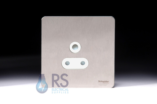 Schneider Screwless Flat Plate Stainless Steel 5A Unswitched Socket White Inserts GU3480WSS