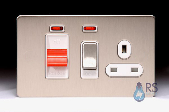 Schneider Screwless Flat Plate Stainless Steel Cooker Control Unit & Socket White Inserts GU4401WSS