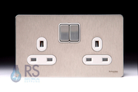 Schneider Screwless Flat Plate Stainless Steel Double/Twin Socket 13A DP White Inserts GU3420DWSS
