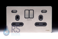 Schneider Screwless Flat Plate Stainless Steel Double/Twin Socket Black Inserts With Usb GGBGU34202USBBSS