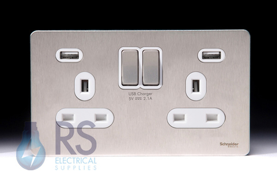 Schneider Screwless Flat Plate Stainless Steel Double/Twin Socket White Inserts With Usb GGBGU3424DWSS