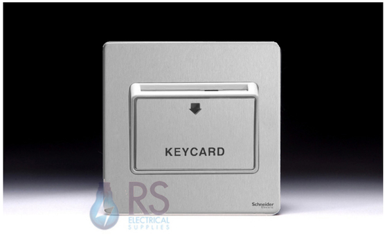 Schneider Screwless Flat Plate Stainless Steel Key Card Switch White Inserts GU1412KWSS