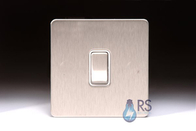 Schneider Screwless Flat Plate Stainless Steel Light Switch 1G 2W White Inserts GU1412WSS
