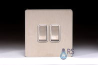 Schneider Screwless Flat Plate Stainless Steel Light Switch 2G White Inserts GU1422WSS