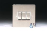 Schneider Screwless Flat Plate Stainless Steel Light Switch 3W White Inserts GU1432WSS