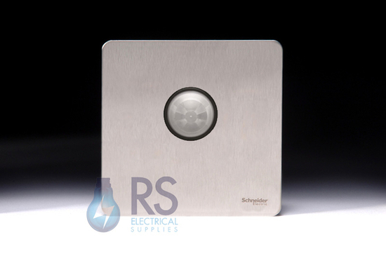 Schneider Screwless Flat Plate Stainless Steel PIR Light Switch GUP1411BSS
