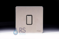 Schneider Screwless Flat Plate Stainless Steel Retarctive Switch 1G 2W Black Inserts GU1412RBSS