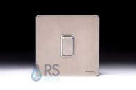 Schneider Screwless Flat Plate Stainless Steel Retractive Switch 1G 2W White Insert GU1412RWSS