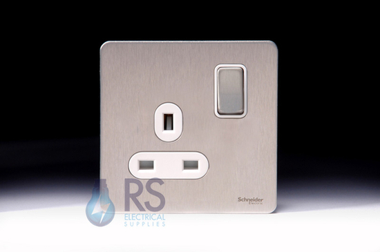 Schneider Screwless Flat Plate Stainless Steel Single Socket DP 13A White Inserts GU3410DWSS