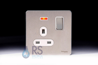 Schneider Screwless Flat Plate Stainless Steel Single Socket Neon GU3411DWSS