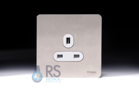 Schneider Screwless Flat Plate Stainless Steel Single Unswitched Socket 13A White Inserts GU3450WSS