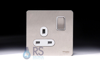 Schneider Screwless Flat Plate Stainless Steel Switched Socket 13 A White Inserts GU3410WSS